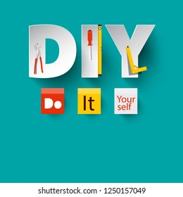 DIY - Vector Do it Yourself Design with Paper Cut Letters and Tools.