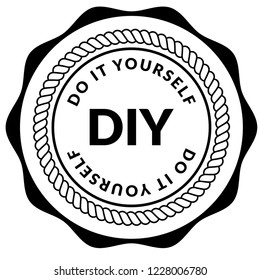 DIY word (Abbreviation of Do it yourself). emblem, label, badge, logo,seal,sticker.