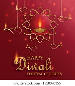 Diya lamp with fire lighting for Diwali, Deepavali or Dipavali, the indian festival of lights on color background