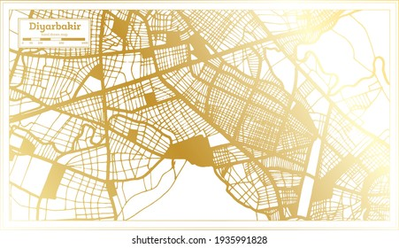 Diyarbakir Turkey City Map in Retro Style in Golden Color. Outline Map. Vector Illustration.