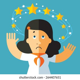 Dizziness. business metaphor illustration. business man with flying stars around his head.