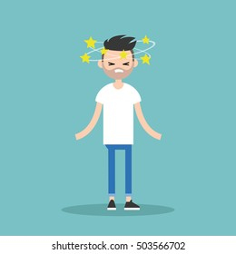 Dizziness conceptual illustration. Young bearded man with stars spinning around his head / flat editable vector illustration
