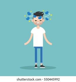 Dizziness conceptual illustration. Young bearded man with birds spinning around his head / flat editable vector illustration