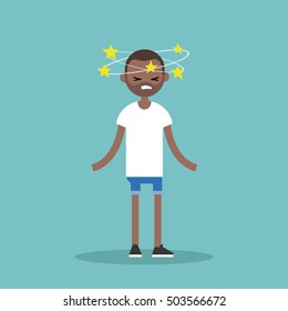 Dizziness conceptual illustration. Young black man with stars spinning around his head / flat editable vector illustration