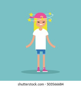 Dizziness conceptual illustration. Young blond girl with stars spinning around her head / flat editable vector illustration