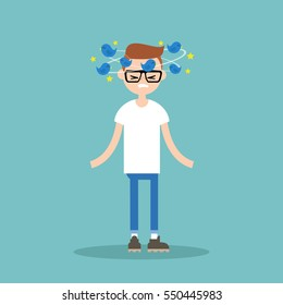 Dizziness conceptual illustration. Young nerd with birds spinning around his head / flat editable vector illustration