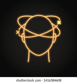 Dizziness icon in neon line style. Vertigo concept symbol. Medical vector illustration.