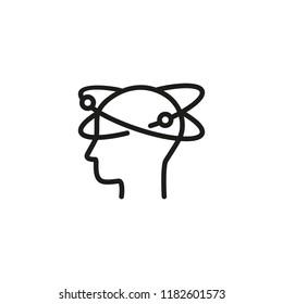 Dizziness line icon. Head, profile, orbits. Health care concept. Can be used for topics like brain disease, vertigo, symptoms