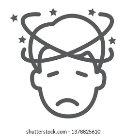Dizziness line icon, stress and human, confused man sign, vector graphics, a linear pattern on a white background, eps 10.
