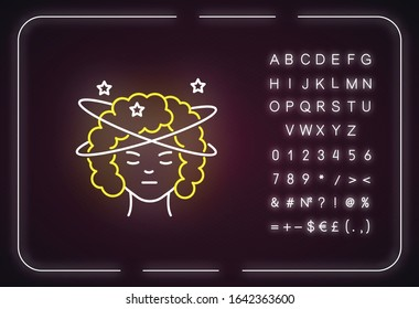 Dizziness neon light icon. Person feeling sick. Stroke in head from heat. Spinning around. Outer glowing effect. Sign with alphabet, numbers and symbols. Vector isolated RGB color illustration