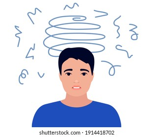 Dizziness, sad and anxious thoughts of man. Young male is surrounded by stream of thoughts, chaos in head. Anxiety, depression, stress. Mental disorder and chaos in mind. Vector flat illustration