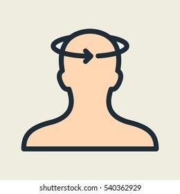 Dizziness Vertigo Head Minimal Color Flat Line Stroke Icon Pictogram Symbol Illustration