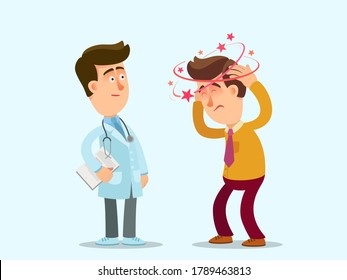 Dizzy. The sick man complains to the doctor about dizziness. A patient with a headache consults a doctor. Vector illustration, flat design, cartoon style, isolated background.