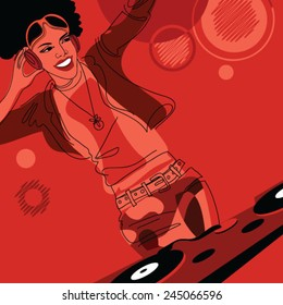 DJ African american girl, vector illustration