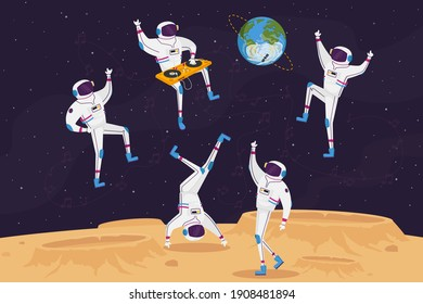 Dj and Astronaut Characters Dancing with Turntable in Open Space on Alien Planet or Moon Surface. Spacemen Listen Music Dance in Cosmos Weightlessness, Galaxy Party. Cartoon People Vector Illustration