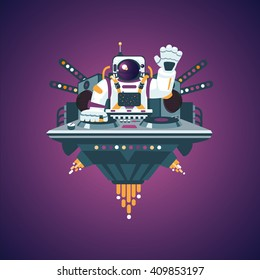 Dj astronaut with turntable in a nightclub. Space party. Flat style illustration. Music poster.