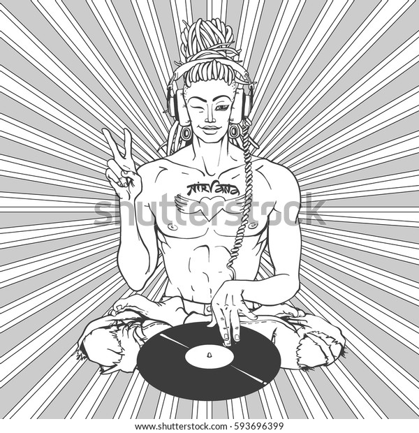 DJ Buddha - Super Star with tattoo NIRVANA, Hippie sexy nan showing peace sign and winking, Vector illustration for sticker or as a print, or patch. Ironic greeting, hipster insignia in comic style.