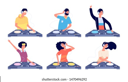 Dj characters. People with headphones and turntable mixer make contemporary music in club. Dj guy spinning disc isolated vector set. Dj discotheque entertainment, people musical nightclub illustration