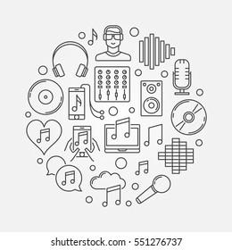 DJ concept linear illustration. Vector music circular symbol in line art style