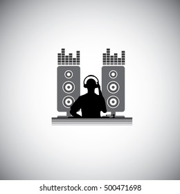 DJ with console : Silhouette vector illustration : Music