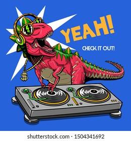 dj dinosaur turntable illustration tee shirt wallpaper poster logo print graphic design