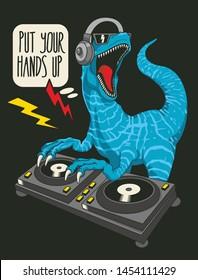 Dj dinosaur vector design for t shirt