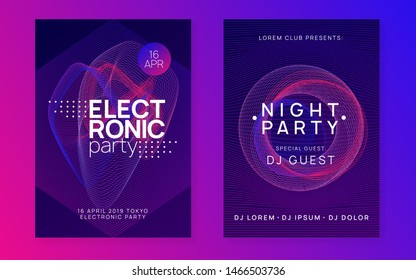 Dj event. Dynamic gradient shape and line. Curvy discotheque brochure set. Dj event neon flyer. Techno trance party. Electro dance music. Electronic sound. Club fest poster.