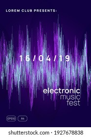 Dj event. Futuristic concert cover layout. Dynamic gradient shape and line. Dj event neon flyer. Techno trance party. Electro dance music. Electronic sound. Club fest poster.