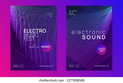 Dj flyer. Dynamic gradient shape and line. Commercial discotheque invitation set. Neon dj flyer. Electro dance music. Electronic sound event. Club fest poster. Techno trance party.