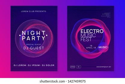 Dj flyer. Modern show magazine set. Dynamic gradient shape and line. Neon dj flyer. Electro dance music. Electronic sound event. Club fest poster. Techno trance party.