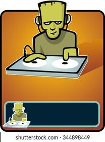 DJ Frankenstein-vector illustration of Halloween Party DJ