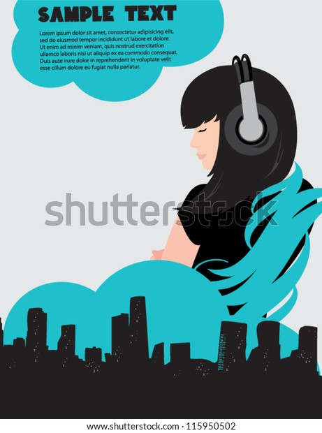 Dj Girl Music Poster Stock Vector (Royalty Free) 115950502