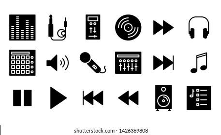 dj glyph icon symbol set