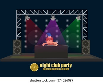 DJ guy on the stage behind the board. vector illustration.