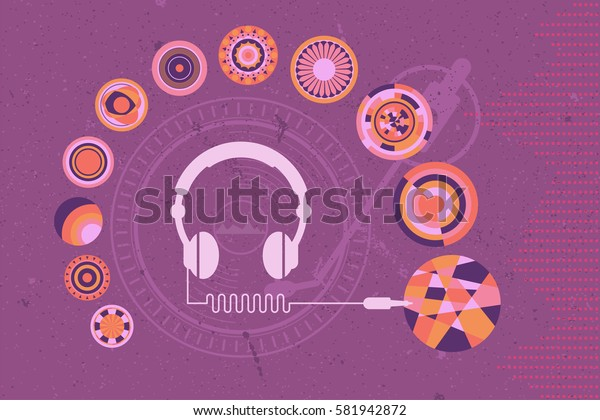 DJ Headphone connecting to various style of music vinyl with turntable and sound wave as background.