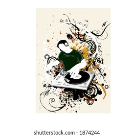 a dj with headphone mixing music from turntable in the backround grunge and floral design ellements,vector illustration scalable,party print