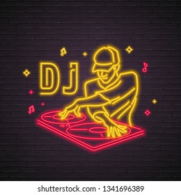 DJ Icon Neon Light Glowing Vector Illustration. Dj Party Bright Red and Yellow Light