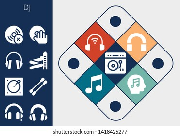 dj icon set. 13 filled dj icons.  Collection Of - Turntable, Headphones, Earbuds, Slider, Vynil, DJ, Audio, Music