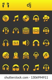 dj icon set. 26 filled dj icons.  Collection Of - Vinyl, Earphones, Music, Headphones, Amplifier, Record, DJ, Audio, Vynil, Slider, Jukebox, Voice recorder