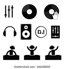 dj icon set in black color art illustration