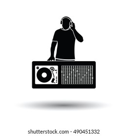 DJ icon. White background with shadow design. Vector illustration.
