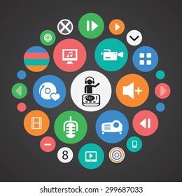 dj icons universal set for web and mobile