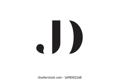DJ or JD and D or J Letter Initial Logo Design, Vector Template