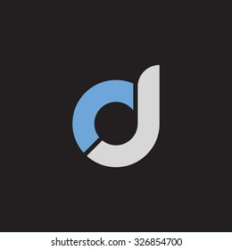 dj, jd initial overlapping rounded letter logo