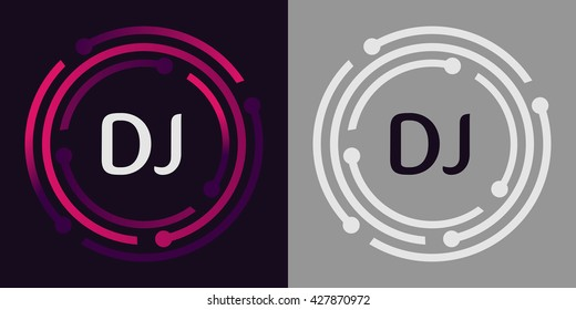 DJ letters business logo icon design template elements in abstract background logo, design identity in circle, alphabet letter