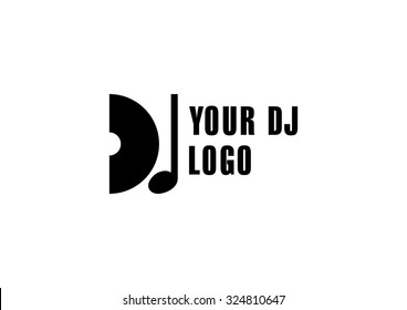Dj logo, club dance logo music symbol.
