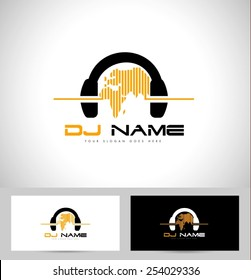 Dj Logo Design. Creative vector logo design with headphones and world map.
