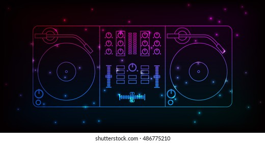 Dj mixer. Neon design with particles for your party flyer