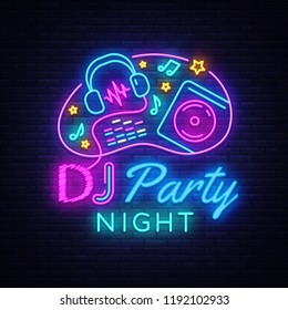 DJ Music Party neon sign vector design template. DJ Concept of music, radio and live concert, neon poster, light banner design element colorful, night bright advertising, bright sign. Vector