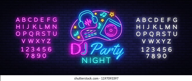 DJ Music Party neon sign vector design template. DJ Concept of music, radio and live concert, neon poster, light banner design element, night bright advertising. Vector. Editing text neon sign